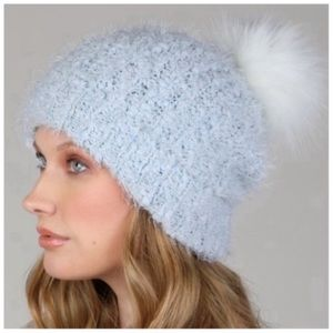 Ultra soft popcorn blue faux fur pom beanie